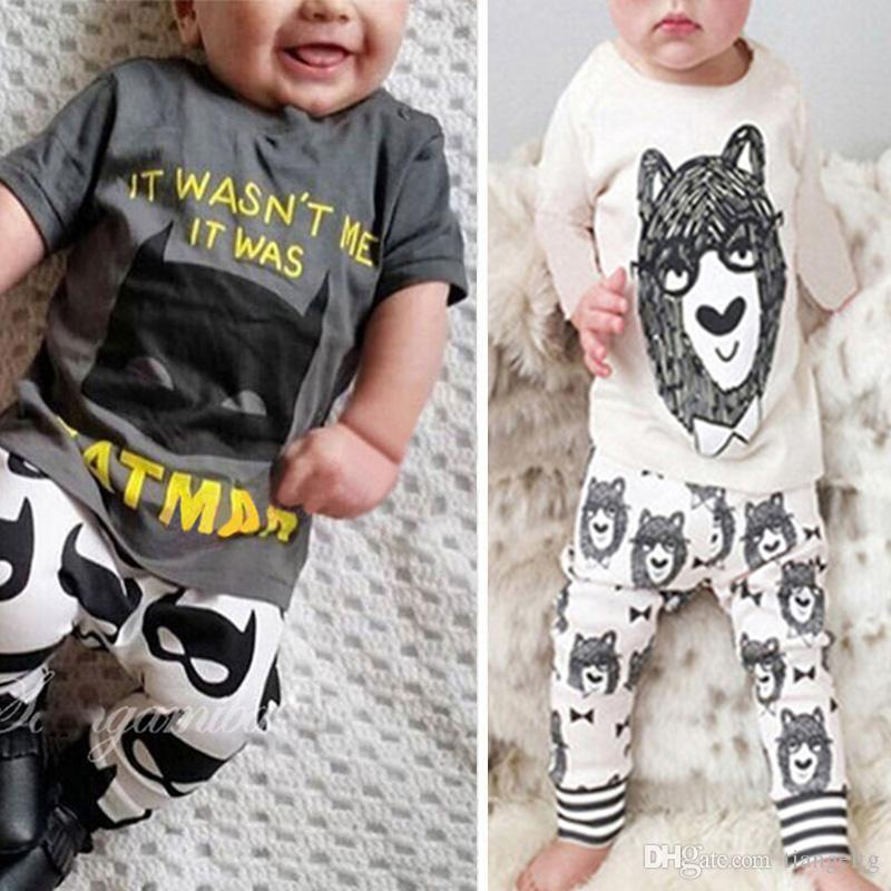 Ins Baby Two-piece Clothing Sets Little Monster Printed Cartoon Short & Long Sleeve T-shirt Pants Boy Girls Tee Shirts Trousers 0-24M