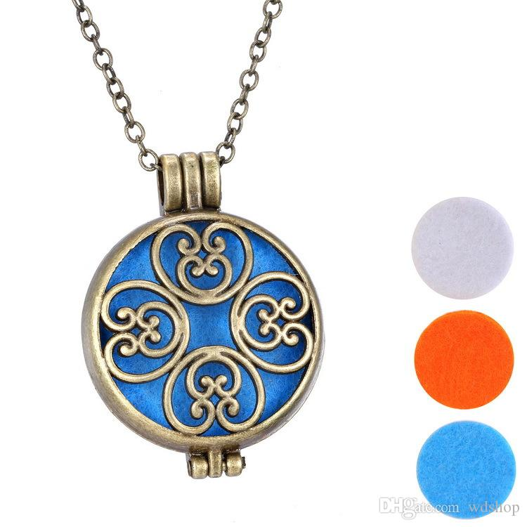 """Vintage Antique Bronze Aromatherapy Jewelry Essential Oil Diffuser Floating Hollow Locket Pendant Necklace With 24"""" Chain And 32mm Pendant"""