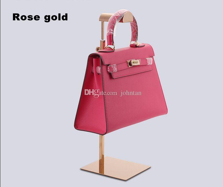 High Quality Rose Gold Stainless Steel Bags Display Rack Hair