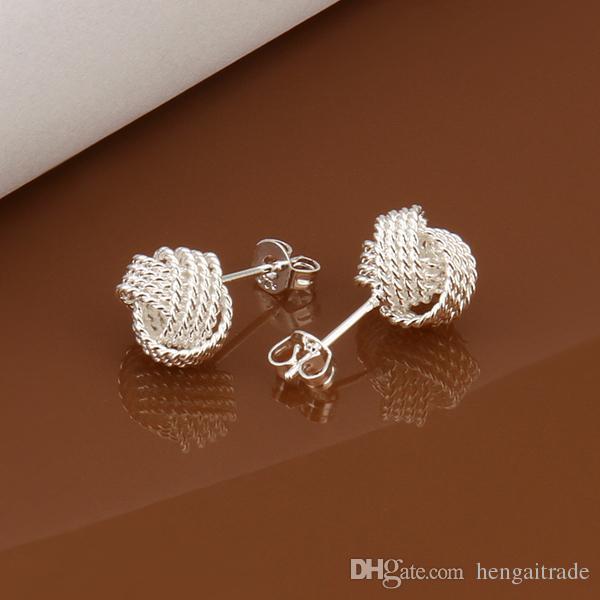 10Paies / Lotfree Shipping Оптовая продажа 925 Стерлинговые серебристые модные серьги для модных серьги для подарков E013