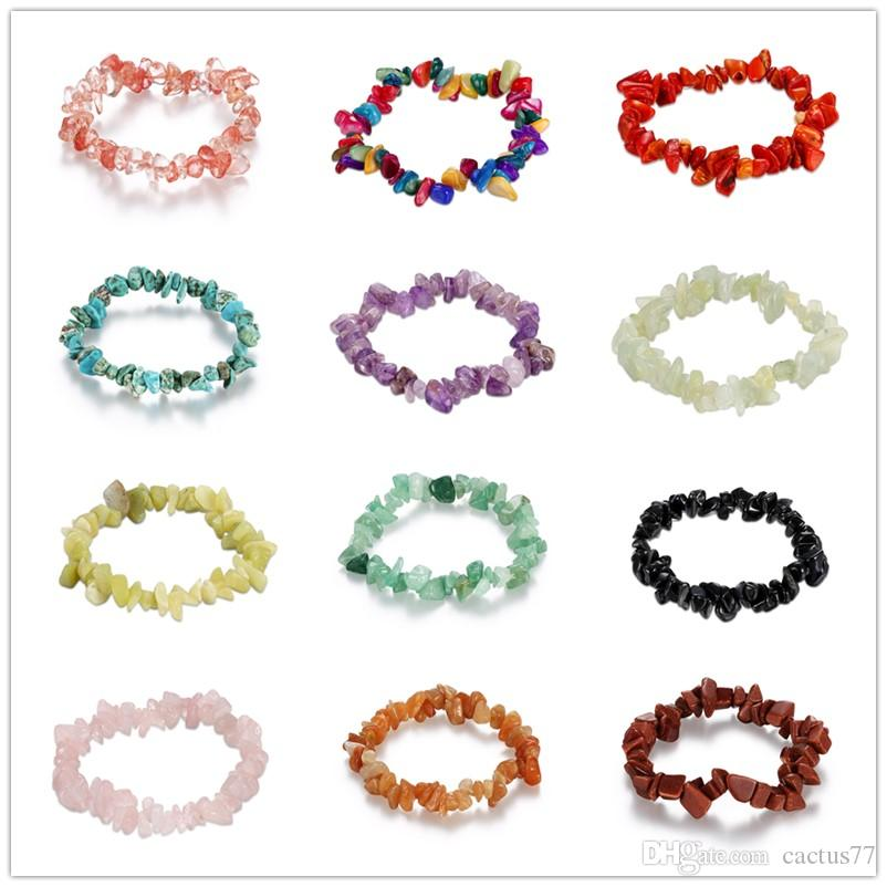 Mixed 12 style Elastic Natural Stone Bracelet Multi-Colors Fluorite Gems Jade turquoise coral amethyst Crystal Stone Bead Bracelet for women
