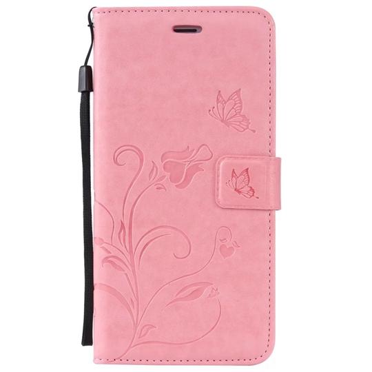 Flower Butterfly Wallet Leather Pouch Case For Samsung Galaxy S7 S6 Edge Plus C5 C7 Iphone SE 5 5S 6 6S I6 I6S Strap Cards Stand TPU Cover