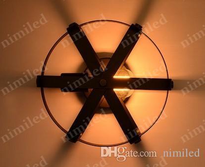 Nimi814 Dia 30 cm Retro Vintage Paese americano Lampada da parete in ferro battuto LOFT Camera da letto industriale Balcone luci corridoio Cafe Bar illuminazione