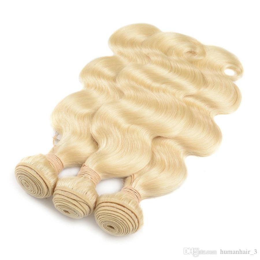El pelo humano rubio de la onda del cuerpo teje # 613 tramas blancas blanqueadas del pelo de la onda del cuerpo / liberan el envío