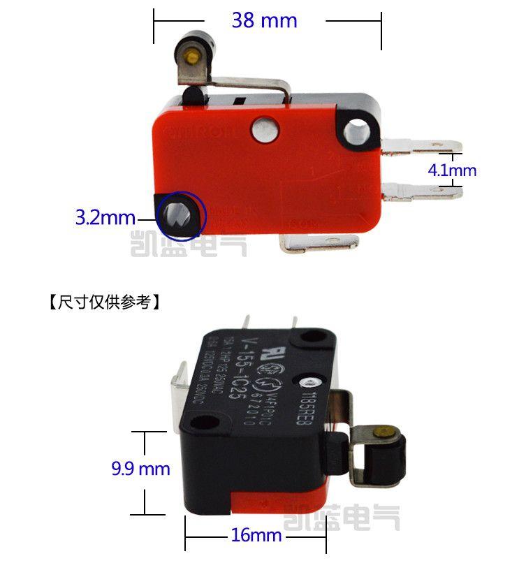 V-155-1C25 Leva a microinterruttore a leva / braccio a leva / rullo NO + NC Brand New a momentaneo microinterruttore SPDT Interruttore a scatto rapido