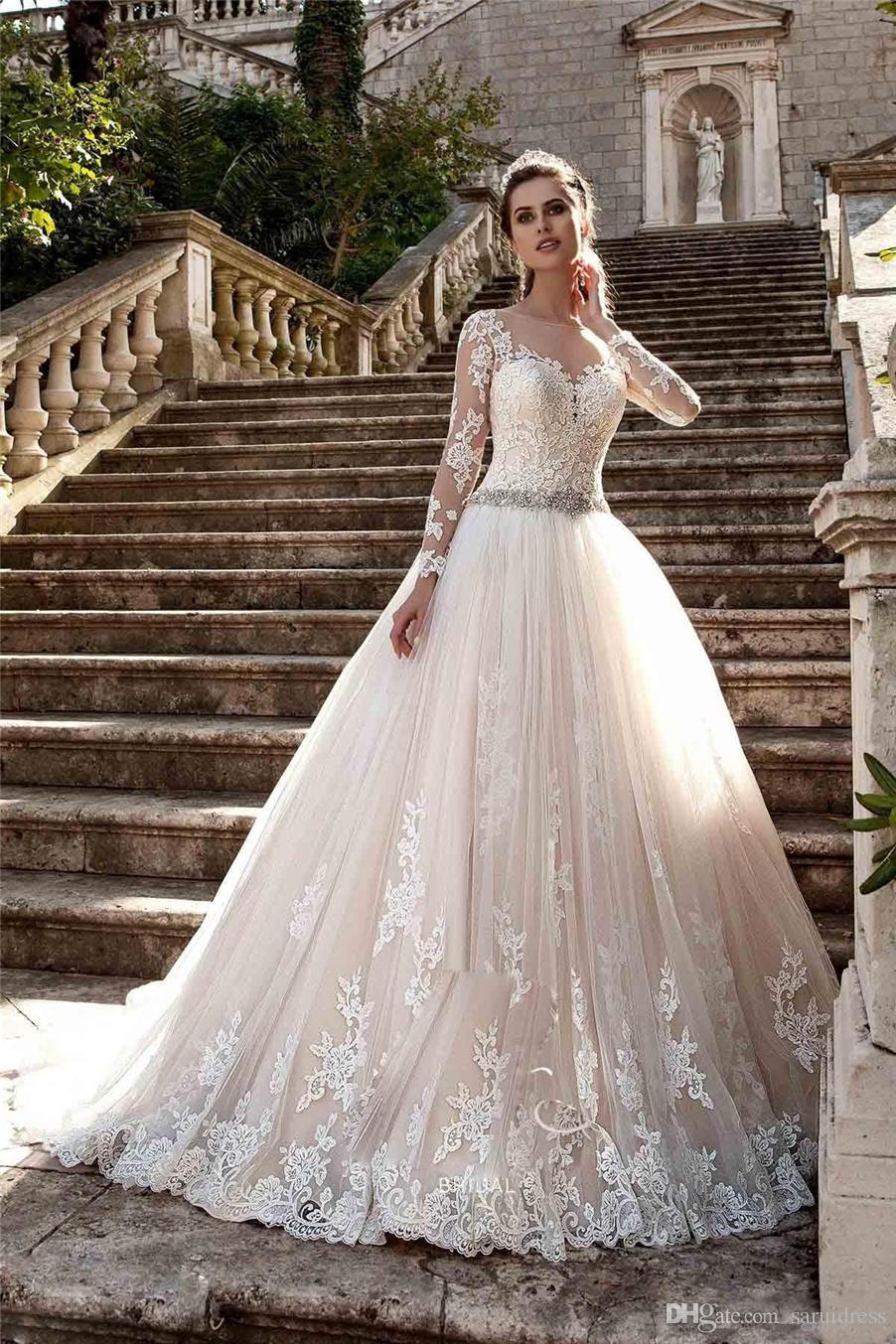 얇은 크루 넥 섹시한 보는 길을 통해 긴 소매 웨딩 드레스 vestios de novia bridal gown vestios de novia bridal gown
