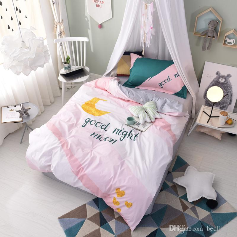 Attractive Pink Good Night Moon Bedding Sets Twin Clearance Dovet Covers Bed Sheets Bed  Comforter Teen Girl Discount Bedroom Decorations Christmas Gift Cheap  Duvets ...