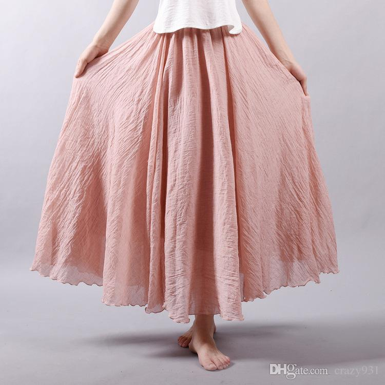 7c40a6dce3 Fashion Brand Women Linen Cotton Long Skirts Elastic Waist Pleated ...