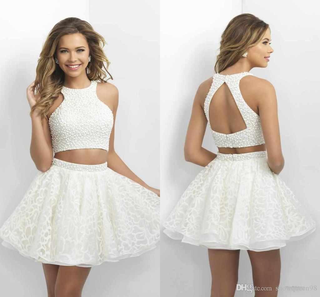 3e496a6565c Две пьесы Homecoming платья Маленький Белый Короткие выпускные платья с