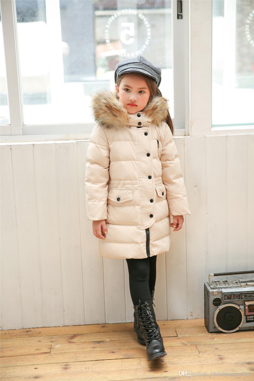 201710 kurtka zimowa dla dziewczyn marki futro kołnierz z kapturem długi dzieci w dół kurtka 2-12 lat dzieci nastoletni płaszcz wierzchniej