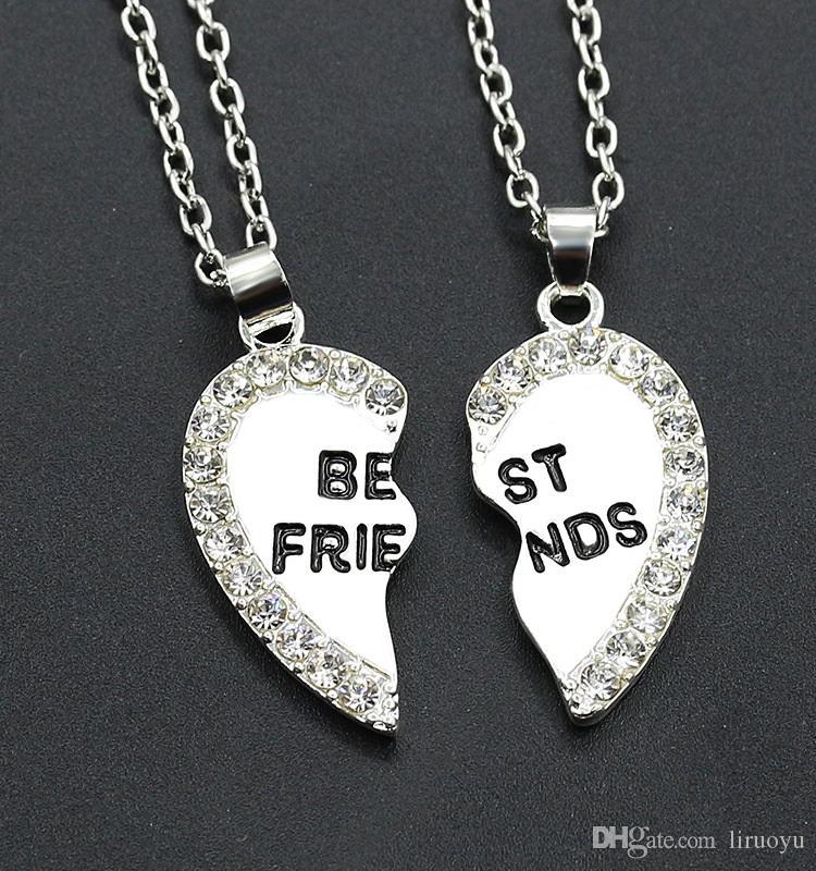 ed473adfc6598 10 Paare / Los, ein Paar beste Freunde Halskette moderne stilvolle hängende  Halsketten Galvanikgold und -silber nicht verblassend, Kettenlänge 45 ...