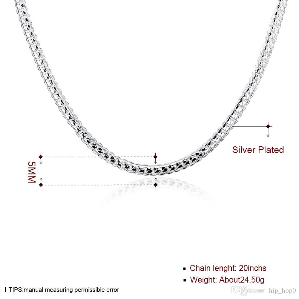 5MM Snake Chain Necklace Beautiful Fashion Jewerly Making 925 Solid Silver Plated Classic 5MM Wide Statement 2016 New Men's Punk Rock Chain