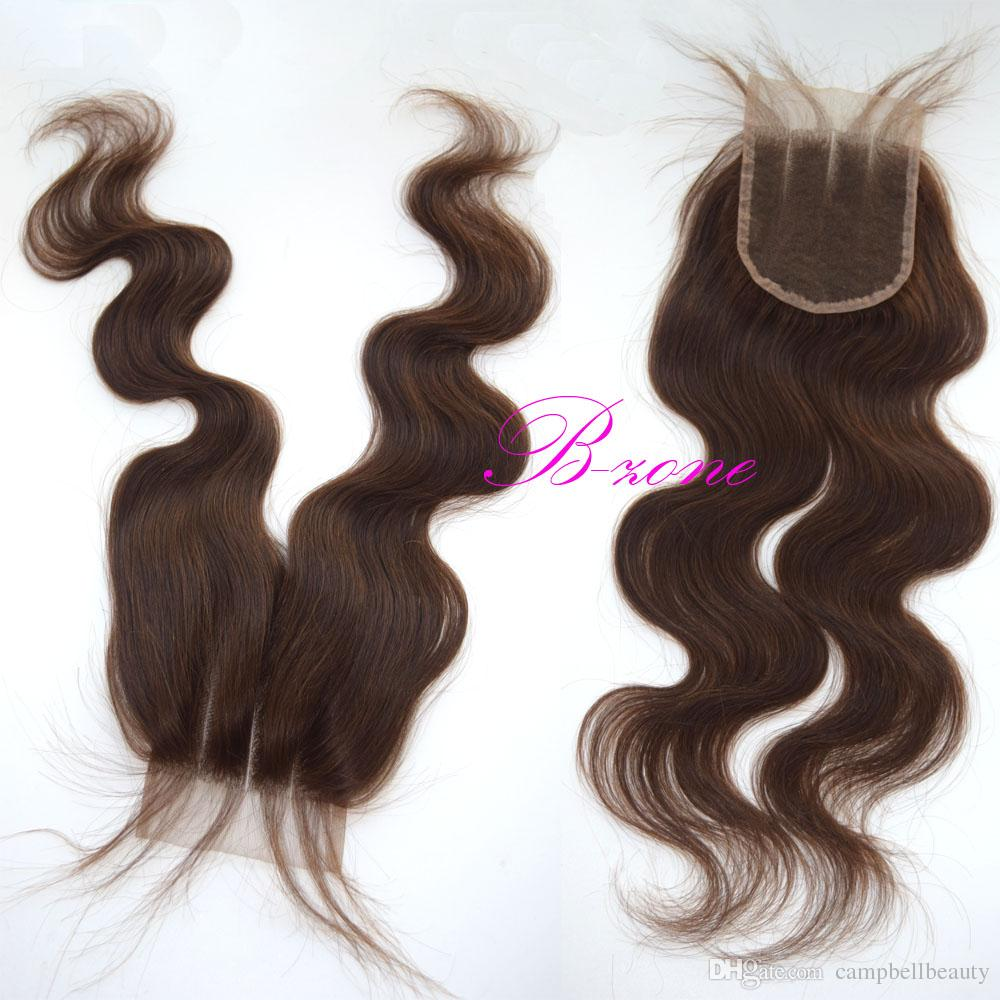 Dark/Medim Brown 7A Malaysian Body Wave Swiss lace Closure Virgin Human Hair Free Middle 3 Part Lace Closure Bleached Knots With Baby Hair