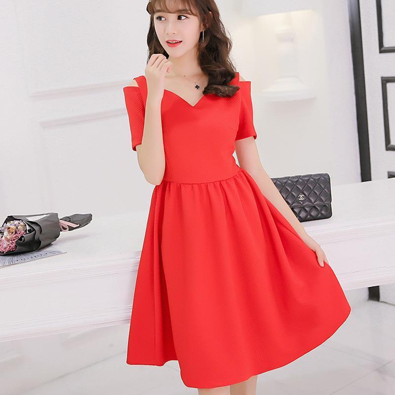 8cb44c23d7d6 Women Dress Summer 2017 New Fashion Black Red Loose Slash Neck Short Sleeve  Solid Cute Thin Temperament Lady Plus Size Dresses Womens Long Black Dresses  ...