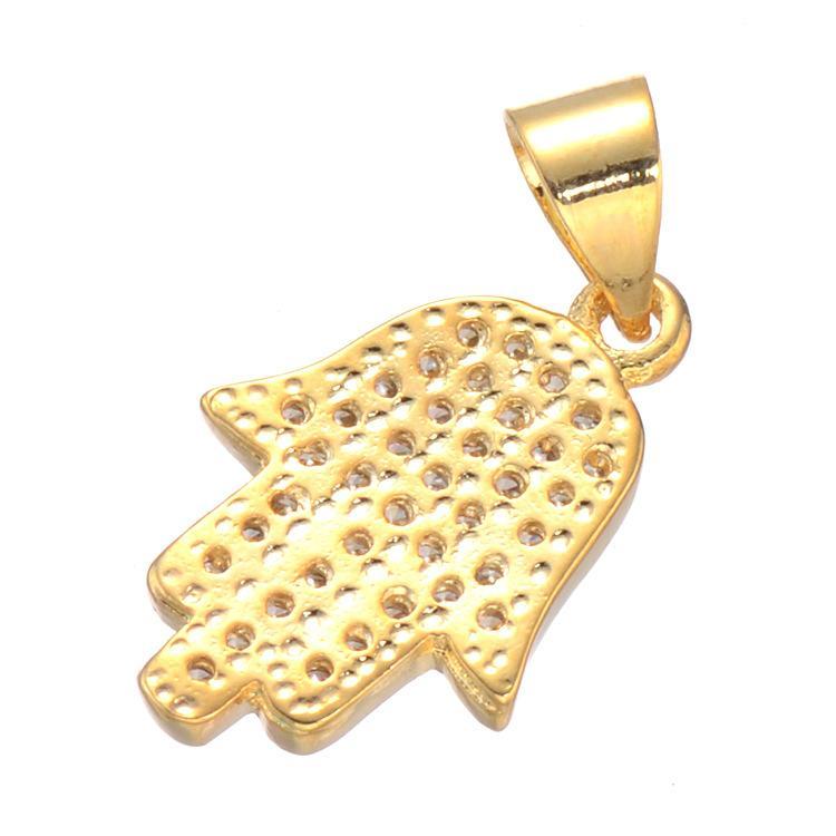 Hamsa Mano Colgante Mujer / Hombres Regalo de la joyería de la suerte Moda Plata Oro Rosa Chapado en oro Rhinestone Mano de palma de Fátima Collares pendientes