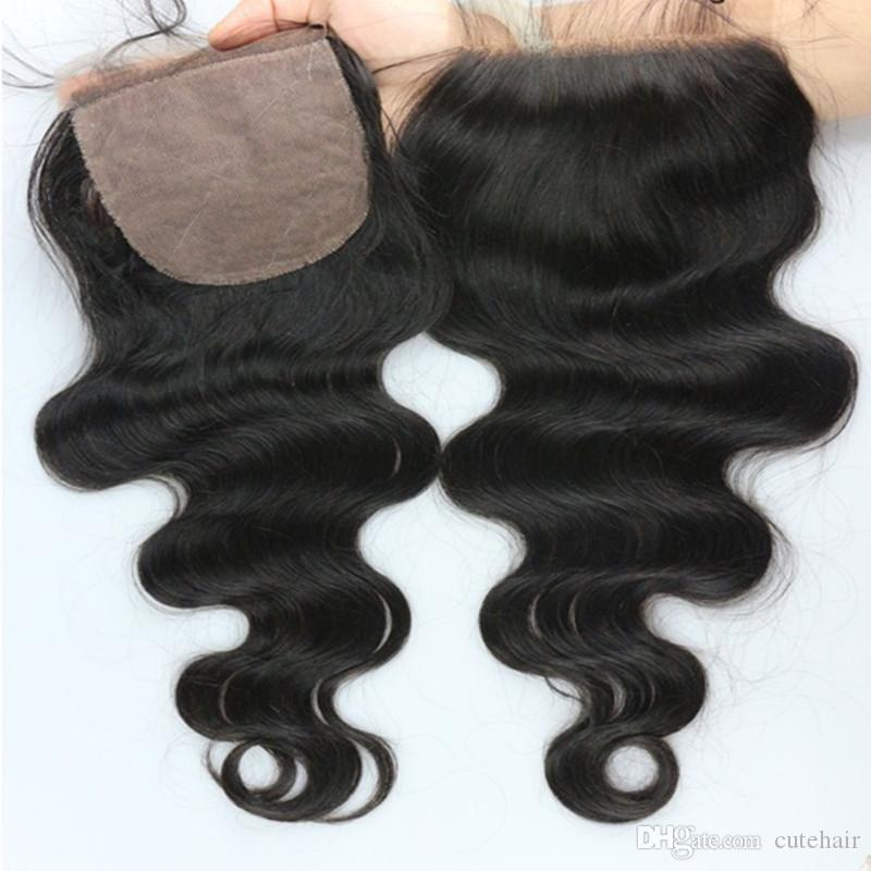 Top Grade Cheap Virgin Brazilian Body Wave Silk Base Closure The Most Closed To The Real Human Scalp No Tangle No Shed