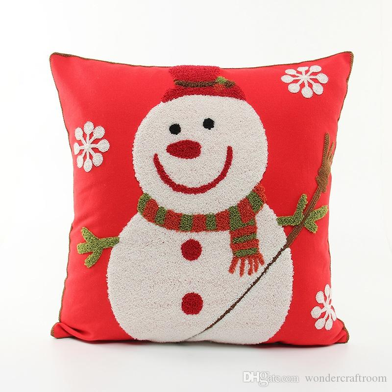Merry Christmas Embroidery Cushion Cover Embroidered Santa Claus Snowman Snowflakes Cushion Covers Sofa Throw Decorative Cotton Pillow Case