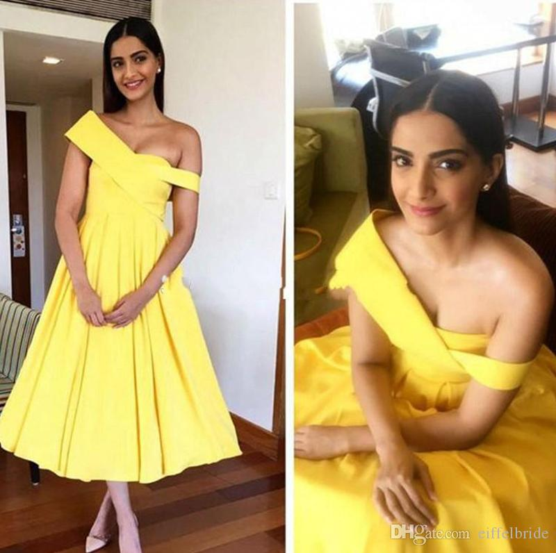 Cheap Prom Dresses 2016 Sexy Special One Shoulder Elegant Yellow A Line Backless Taffeta Formal Evening Gowns Lea Length Fast Shipping