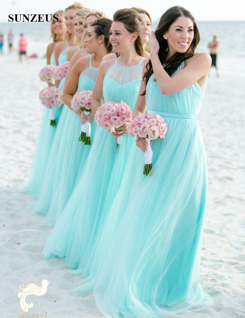 dc7a6efbde Abiti da damigella d'onore turchese lungo Tulle Abiti da festa da sposa Una  linea senza spalline Abiti da spiaggia Abiti Vestido Color Turquesa ...