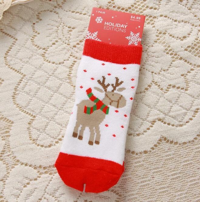 Bambino 2016 Ragazzi Ragazze Calze di Natale con Stampa Baby Deer Fiocco di neve Santa Childrens Autunno Inverno Infantili Calzini all'ingrosso 1-10 T 6 Stili