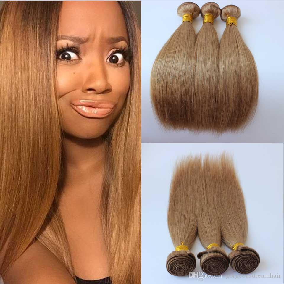 Straight TOP Honey Blonde Color Brazilian Human Hair Weft 27 Peruvian Indian Malaysian Cambodian Human Hair Weave Extensions 3 Bundles weft
