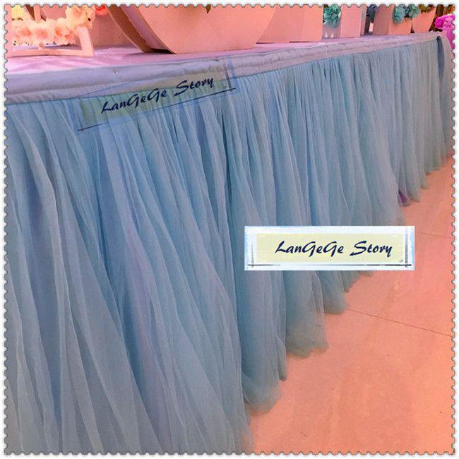 Paños de mesa de la torta de cumpleaños / Bordes de seda azul hielo con dos capas de malla Hilados / Vajilla nupcial / 2M / 3M / 4M / 5M / 6M pueden elegir
