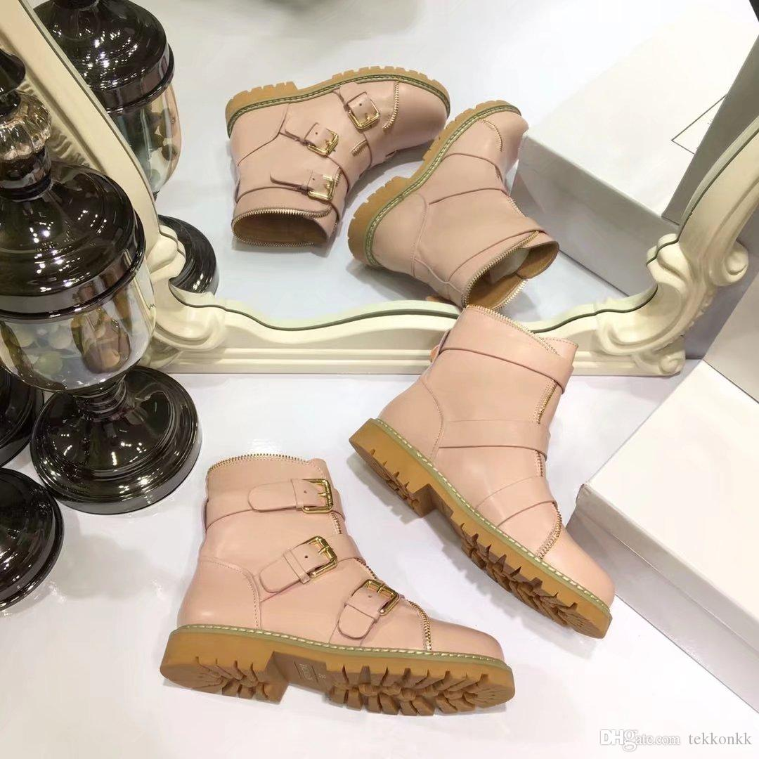 High Quality Genuine leather Pink Black Beige Martin Boots Buckle Decoration Ankle Boot Feminino Flat heel Women Booties