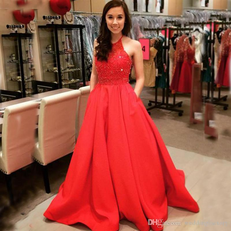 5bddae50ac5 2017 Stunning Red Prom Dresses A Line Halter Sleeveless Exquisite Beaded  Top Satin Evening Party Gowns With Pockets Prom Dress Styles Prom Dresses  For Plus ...