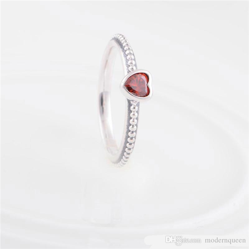 5 pezzi / lotto stile originale zirconi anelli delicati cuore rosso 925 le donne ragazza migliore qualità H9