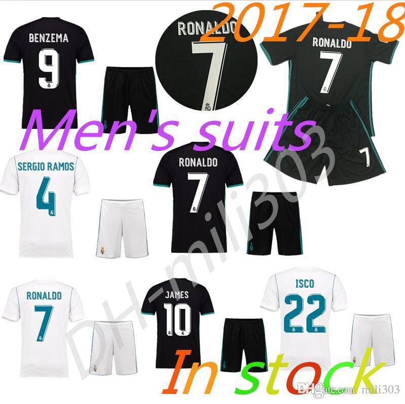 2019 Thai Quality 2017 2018 Real Madrid Home White Soccer Jersey Kit 1718  Away Black Soccer Shirt Ronaldo Bale Football Uniforms Asensio SERGIO From  Mili303 ... 6eb329877
