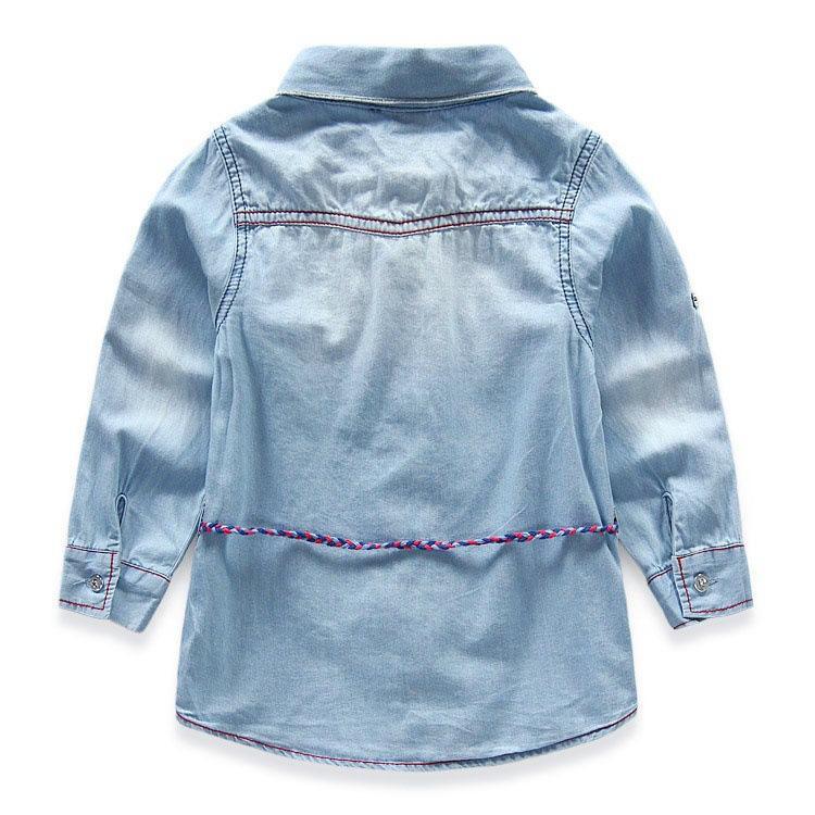 Hot Adorável Crianças Meninas O cowboy Braces saia tarja manga Longa borboletas bordado gola de renda T camisa