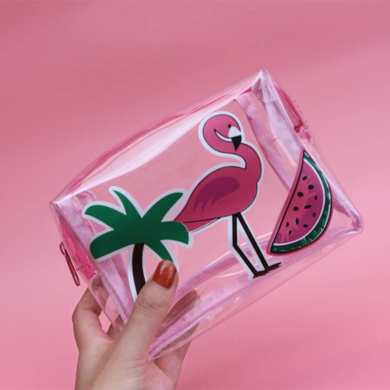 RU&BR Fashion Transparant Cosmetic Bags Character Pattern Waterproof Neceser Portable Make Up Bag Women PVC Toiletry Bag Blosa