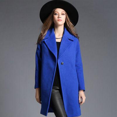 2017 New Fashion Oversized Wool Coats Blue One Button Long Coat ...
