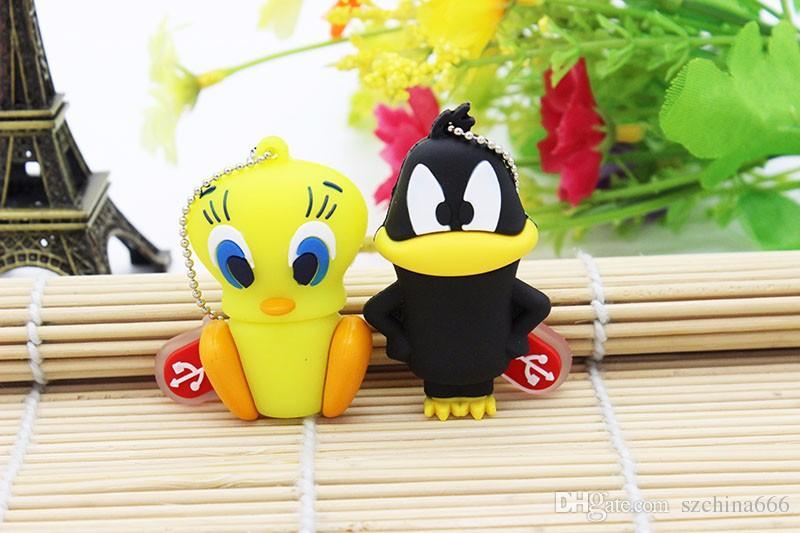 Cartoon Bear Daffy Duck Bugs Bunny Cat Tweety Bird USB 2.0 Flash Drive U Disk Animal Pendrive Memory Stick Gift 1GB 8GB 16GB
