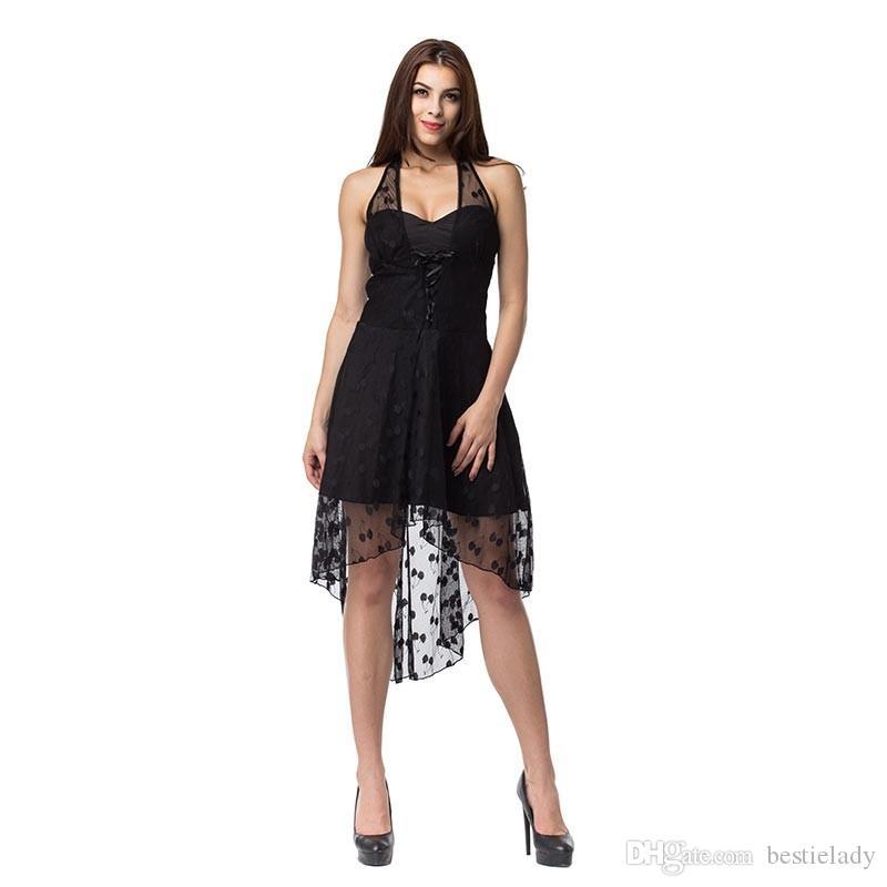 Moda feminina Sem Mangas Do Dia Das Bruxas Burlesuqe Preto Do Vintage Lace Polka Dots Alta Baixa Halterneck Steampunk Vestido de Dança