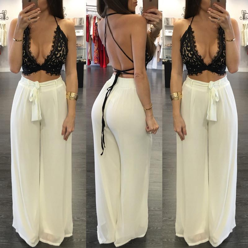 8924a398907d 2019 2018 Summer Bodycon Two Piece Set Women Lace Crop Top Bangdage Sexy  Plus Size Women Strap Clothing Outfits Loose Pant Sets From Happy weddings