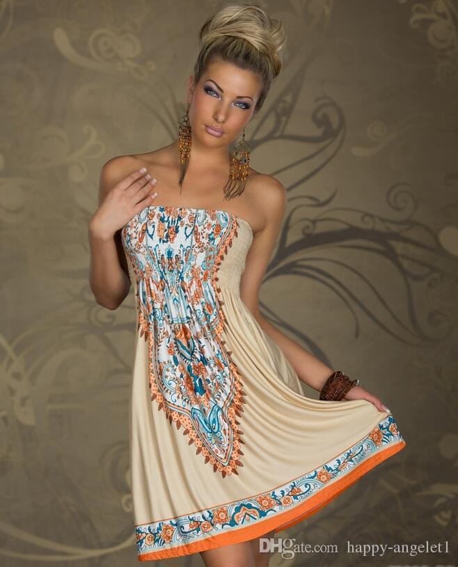 Nya mode sexiga kvinnor strapless vintage mönster tryckt avslappnad sommar klänning av axel strand klänning