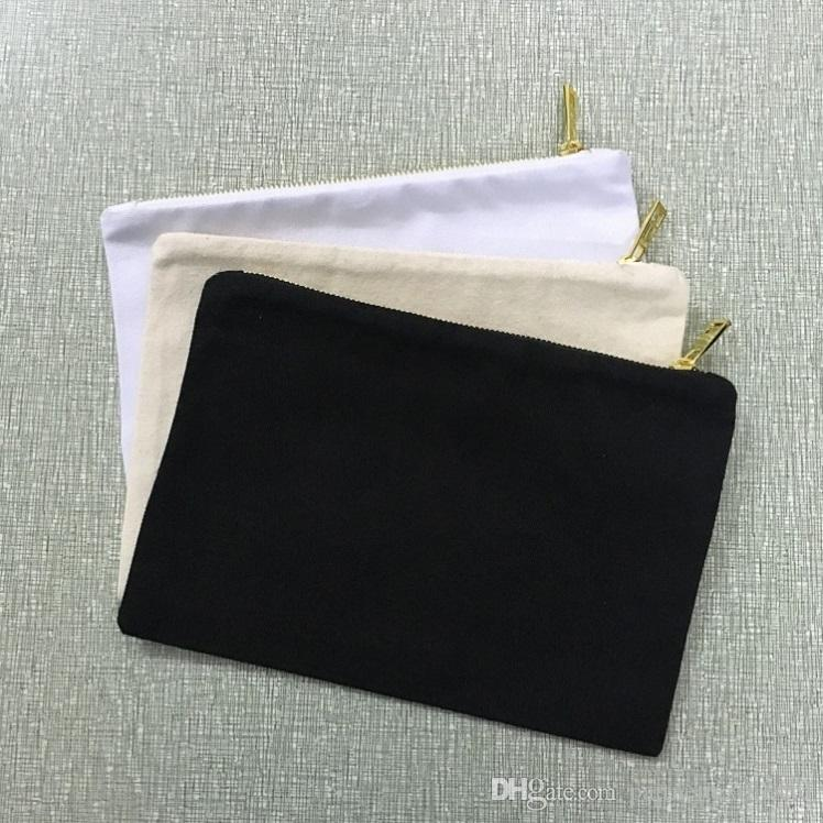 7x10 inches blank coin purse natural canvas wallet blank cotton wallet casual cosmetic bag gold metal zipper pouch