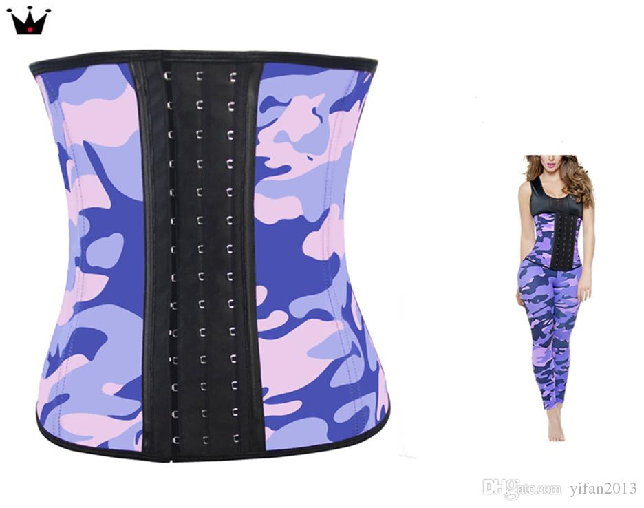 094bf48324df2 2019 Plus Size S 6XL Camouflage Fajas Gym Sport Latex Waist Trainer Cincher  Weight Loss Waist Training Corset Girdles Body Shapers 9 Steel Boned From  ...