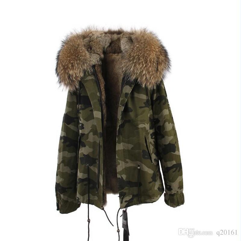 2017 새로운 패션 여성 호화 큰 너구리 여우 모피 후드 따뜻한 겨울 자켓 라이너 파카 긴 앞면과 고품질의 진정한 칼라 코트