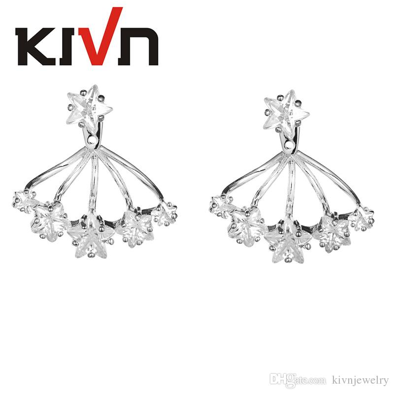 KIVN Jewelry Pentagram Stars Prong Setting CZ Cubic zirconia Earring Ear Jackets for women Mothers Day Birthday Christmas Gifts