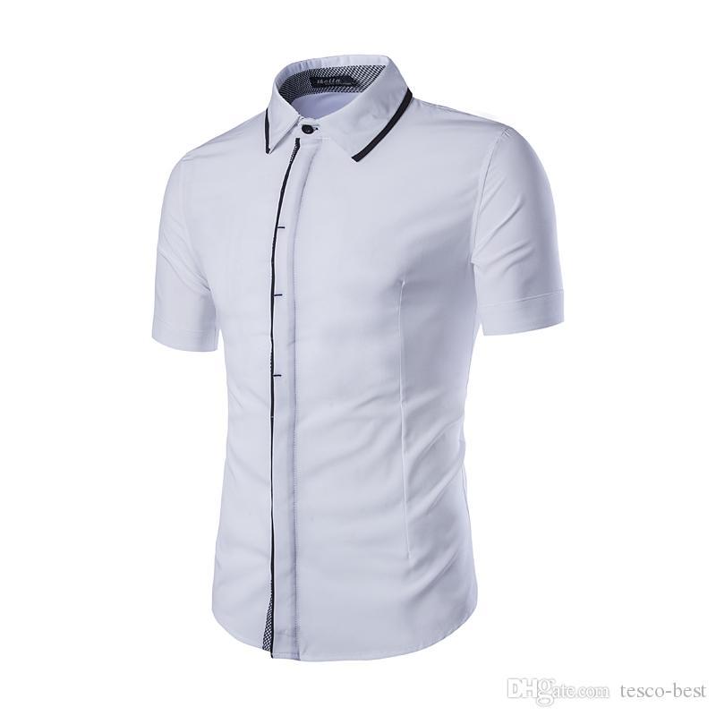 2016 Hot Sale Simple CONTRAST COLOR Casual shirt men's Short-sleeved shirt Slim Shirt Plus Size M-XXL C408