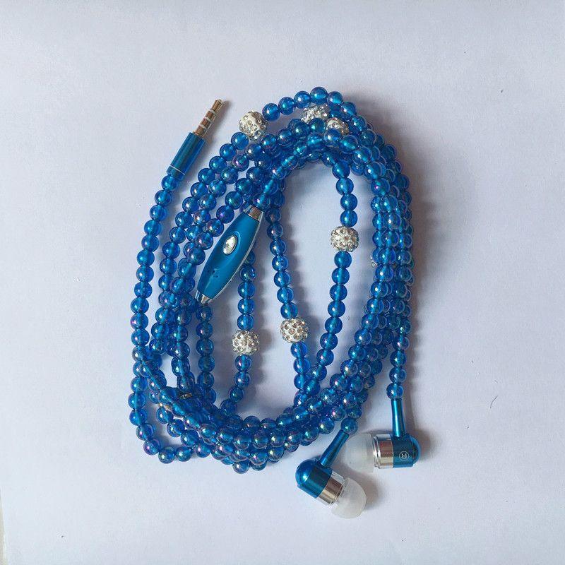 Luxus Strass Schmuck Perlenkette Ohrhörer Mit Mikrofon Rosa Mädchen Ohrhörer Kopfhörer Für Iphone HuaWei XiaoMi Beste Girft