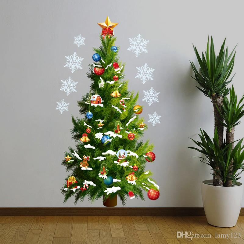 Wholeslae 2016 DIY New Green Christmas Tree Star Wall Decor Christmas Happy New Year PVC Waterproof Removable Wall Stickers Custome