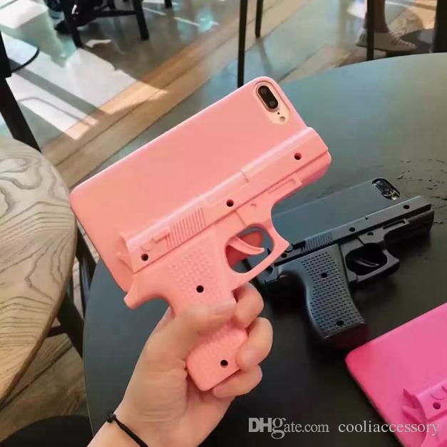 3D الإبداعية على شكل بندقية عصري كاب الصلب PC قضية فون X XS MAX XR 8 7 6 زائد 6S SE 5 5S 5C 4 4G 4S لعبة الهاتف الخليوي غطاء من الجلد فاخرة
