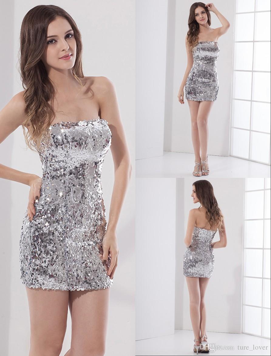 d0508f9760b4 Sexy Short Mini lentejuelas plateadas vestidos de fiesta sin tirantes  brillantes ajustados vestidos de fiesta noche vestidos cortos vestidos de  baile
