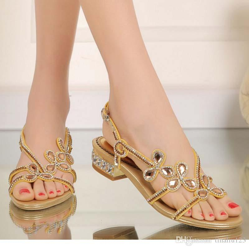 60d1e82d02cd1f Big Size 34 44 Women Gladiator Rhinestone Flowers Flat Low Heel Sandals  Rome Female Summer Comfortable Crystal Casual Sandalias Beach Shoes Chaco  Sandals ...