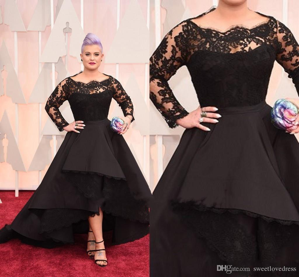 7698b801c51 2017 High Low Plus Size Formal Dresses Sheer Lace Bateau Long Sleeve Oscar  Kelly Osbourne Evening Gowns Black Ball Mother Of The Bride Prom Dresses  With ...