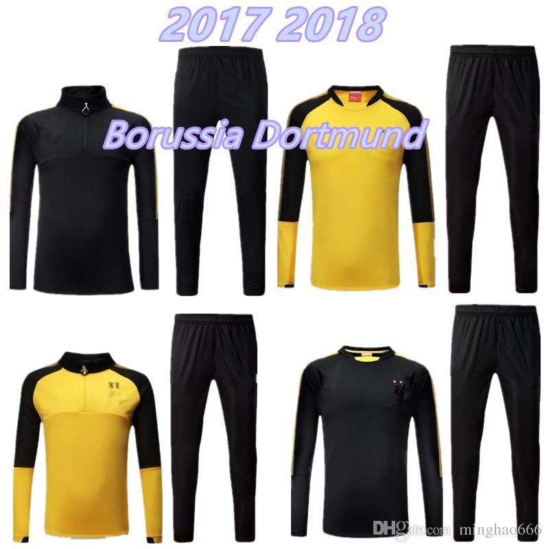 b943990f5 Top Quality 17 18 High Collar Jacket Black Training Suit Kits Soccer  Tracksuit 2017 2018 AUBAMEYANG GOTZE REUS SAHIN Football Training Suit  Soccer Sets ...