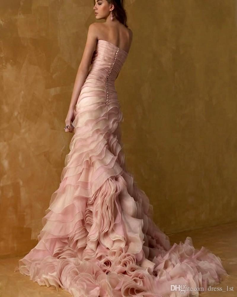 Romântico 2019 vestidos de casamento coloridos blush rosa e champanhe camiseta cascading ruffles organza strapless sereia vestidos nupciais feitos